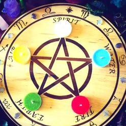 Pentacolo d'altare in legno di abete pirografato a mano - TheMagicWood.com